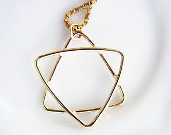 Handmade 14K Gold Star of David Pendant Charm. Unisex Design. Gold Jewish Symbol. Protection Star Symbol. Recycled Eco Friendly Gold Amulet