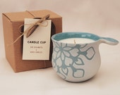 Light Blue Pattern Soy Candle Cup B with Wood Coaster and Gift Box