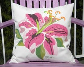 """Outdoor pillow STARGAZER LILLY hand painted 20"""" pink Oriental lily gardening perennial spotted botanical Crabby Chris Original"""