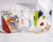 Hand Blown Art Glass Murrini Cane Rocks Glass Tumbler  COCKTAILS!