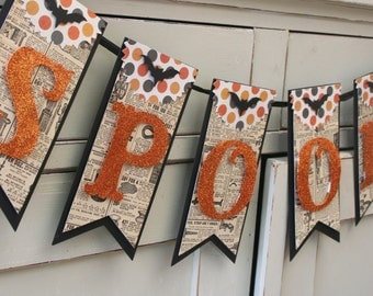 Spooky Banner - Halloween Decor - Vintage Style Halloween Decor - Orange and Black - Halloween Banner