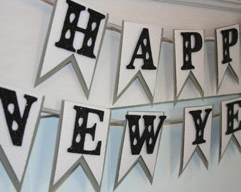 Happy New Year Banner - New Years Banner - New Years Eve Decor - Glitter Banner