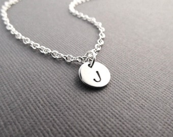 Silver Initial Necklace, Disc Initial, Minimal Jewelry, Customized Necklace, Engraved Jewelry, Personalized Necklace, Tiny Initial Necklace