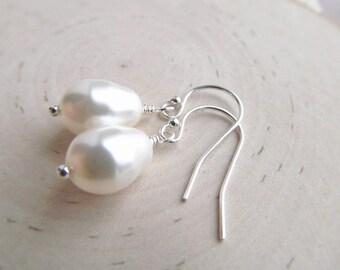 Pearl Drop Earrings, Silver Bridesmaid Earrings, You Choose Color, Pearl Dangle Earrings, Pearl Bridal Jewelry, Sterling Silver Earrings