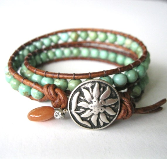 Turquoise Fling - Double Wrap Green Turquoise on Leather - Beaded Leather Wrap Bracelet