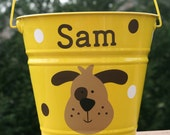 Personalized toy, baby shower, halloween or Easter pail for boys or girls - Dog and polka dots