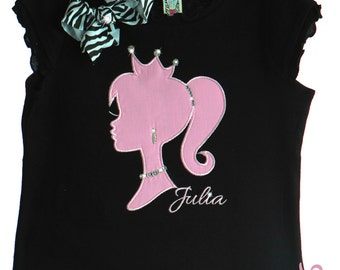 Custom Boutique Barbie Girl Princess Birthday Rhinestone Leotard Tee Shirt Tank Design your own Barbie Girl