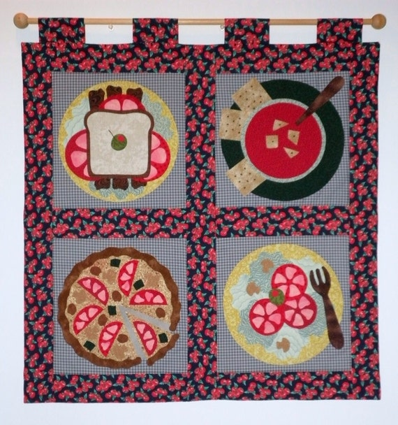 Fabric Wall Hanging of Tomato's BLT Pizza Soup by jamiespatchwork
