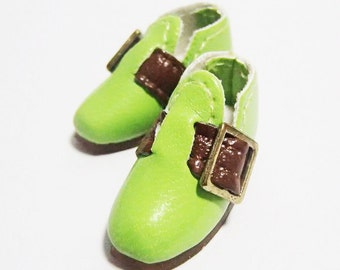 Green Casual Buckle Shoes for BJD Dolls Lati Yellow, PukiFee, Riley Kish, Bobobie Nissa, DIM Silf, Dollk S00068G
