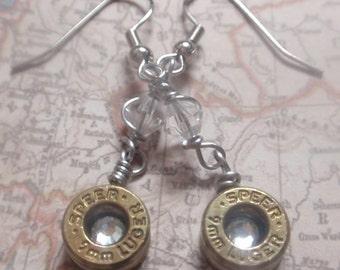 9mm Bullet dangle earrings... Premium Bullet Clear crystal Dangle Earrings