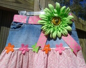 Denim Jeans Tier Skirt. Pink and Green. Girls Size 10.