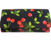 USA Handmade  Red Cherry Rockabilly  Pattern  BI-fold woman Wallet Cotton Fabric , New,  Rare