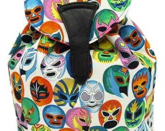 Large Backpack  with Latino Cultural MASCARAS de PELEA Pattern  US  hand made Bag Handbag purse Alexander Henry Cotton Fabric, new,rare