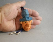 Bolo Tie with hand carved Cowboy caricature