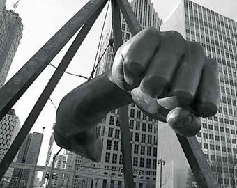The Fist Detroit Photography Joe Louis Monument Motor City Downtown Motown Icon Urban Art Public Sculpture Iconic Photography Photo Print