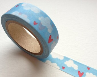 Washi Tape - Blue Sky with Red Hearts for packaging, scrapbooking, party favor and deco