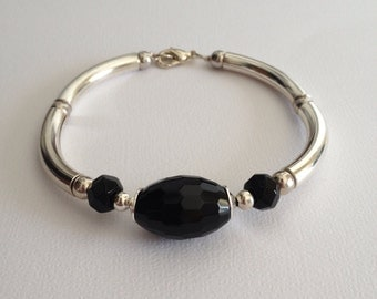 Black Faceted Onyx Silver Tube Oval Cuff  Bangle Bracelet ...OOAK ... Gift for Her