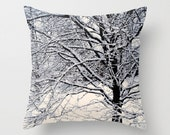 Decorative Pillow Cover // Throw Pillow // Home Decor // Photo Pillow Cover // Winter // Snow // Black White // Trees // Made To Order - #17 - earthmothermosaics