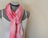 Pink Linen SCARF - Pastel Spring Pink Tie Dye Hand Dyed Hand Made Linen Scarf #26 - 7 x 76""
