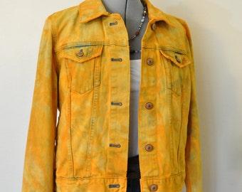 Orange Large Denim JACKET - Yellow Orange Hand Dyed Upcycled Repurposed Gap SOFT Denim Trucker Jacket - Adult Womens Size Large (42 chest)