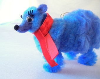 Blue Bear Christmas Ornament with Red Scarf, Retro Christmas 50s 60s Nostalgia