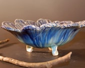 Blue Pottery Serving Bowl, Blue and Green, Blue Candy Dish, Ceramics and Pottery, Hand made Pottery