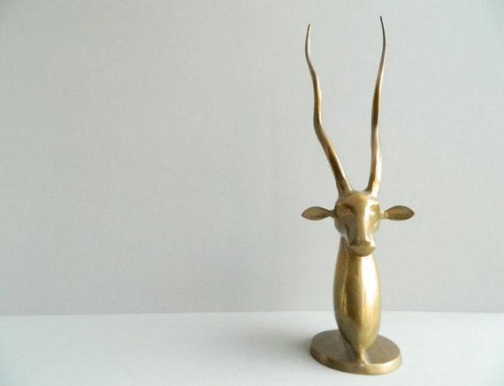 Large Brass Antelope Sculpture