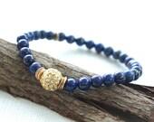 m i d n i g h t  . . . .   stackable crystal pavé, brushed gold vermeil and blue lapis bracelet