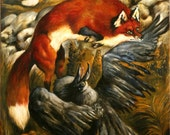 SALE--The Fox and the Raven --original oil painting