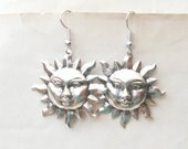 Silver Sun Earrings Dangly Earrings Drop Earrings Silver Earrings Sun Face Choice of Wires Also Available in Antique Gold Plated