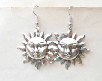 Silver Sun Earrings, Dangly Earrings, Drop Earrings, Silver Earrings, Sun Face, Choice of Wires, Also Available in Antique Gold Plated