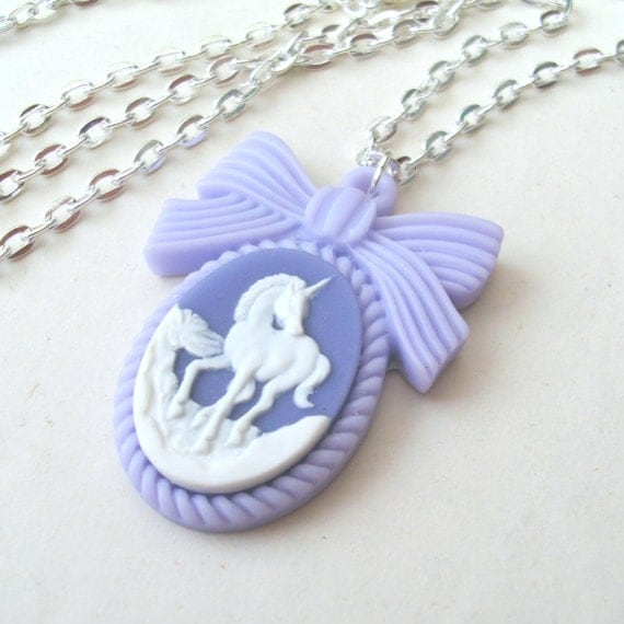 Pastel Purple Unicorn Necklace, Unicorn Cameo Necklace, Bow Necklace, Purple Necklace, Mauve Necklace