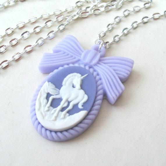 Pastel Purple Unicorn Necklace, Unicorn Cameo Necklace, Bow Necklace, Purple Necklace, Mauve Necklace