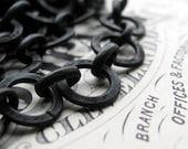 "10mm large link rollo chain - ""Erté"" - black antiqued brass (1 foot) (30cm) flat, round circle open links, bulk length black chain"