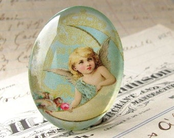 "Handmade ""Luna Angel"" 40x30 mm glass oval cabochon, 40x30mm 30x40mm, angel on the moon, chreub, Christmas, mint aqua"