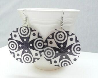 Black and White Capiz Shell Dangle Earrings