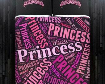 Pink Princess Tiara Girl Duvet Cover Bedding Queen Size King Twin Blanket Sheet Full Double Comforter Toddler Daybed Kid Teen Dorm