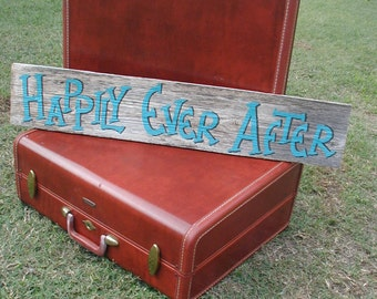Rustic Wood Wedding Hanging Sign on Stake Happily Ever After Turquoise and Brown Ready to Ship