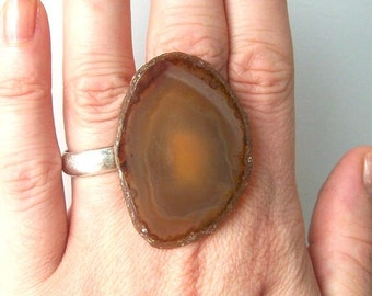 bohemian agate ring geode boho fashion jewelry statement cocktail adjustable neutral earth tone caramel brown coffee stone rock