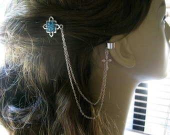 Bobby Pin Ear Cuff,  Ear Cuff, Bobby Pin, Ear Cuff Hair Comb, Celtic Cross, Cross Ear Cuff, Chain Ear Cuff