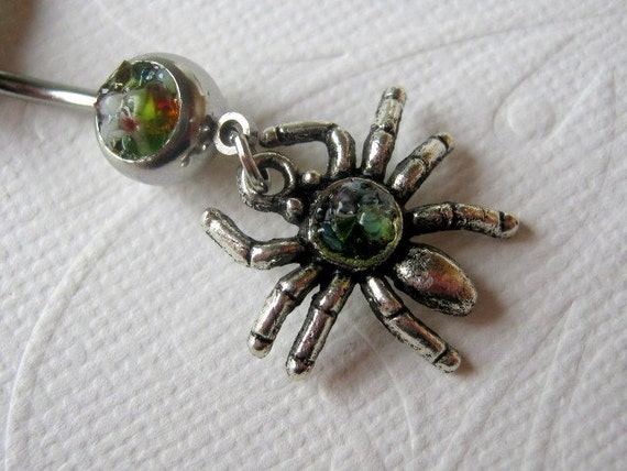 Spider Belly Button Ring, Belly Button Jewelry, Navel Ring, Navel Jewelry, Halloween Jewelry