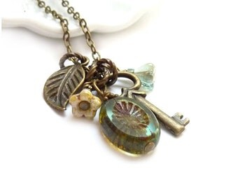 Skeleton Key Charm Necklace - Moss Green Picasso Glass - Bronze Leaf - Rustic Jewelry - Boho Chic Necklace - Gift for Her
