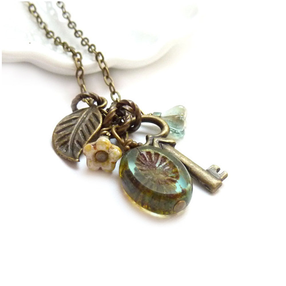 skeleton key charm necklace moss green picasso glass