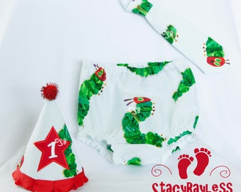 Cake Smash Party Set using Very Hungry Caterpillar licensed fabric- hat necktie diaper cover