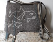 Felted Messenger Bag - The Whale Watchers - fully lined - natural wool - RESERVED