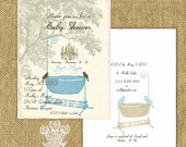 Crystal Grove Vintage Style Printable Baby Shower Invitation Blue DIY Editable PDF