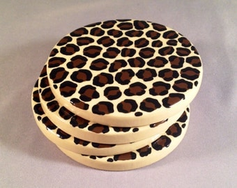 SALE - Leopard Print Round Coasters - Set of Four