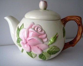 Vintage Teleflora Teapot with Pink Flowers