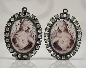 Sacred Heart of Mary Prints Set in Rhinestone Settings Charms