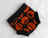 Large Jack O Lantern Fleece Diaper Soaker / Fitted Cover / Soft Training Underpant, Black Pumpkin Orange, Ready to Ship Halloween Photo Prop